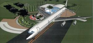 Depois de remontado, avião vai funcionar como restaurante.