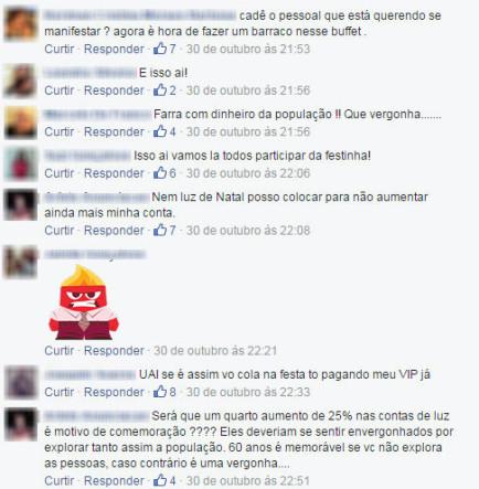 Poços-caldenses reclamam do valor gasto na festa (Imagem: reprodução Facebook).